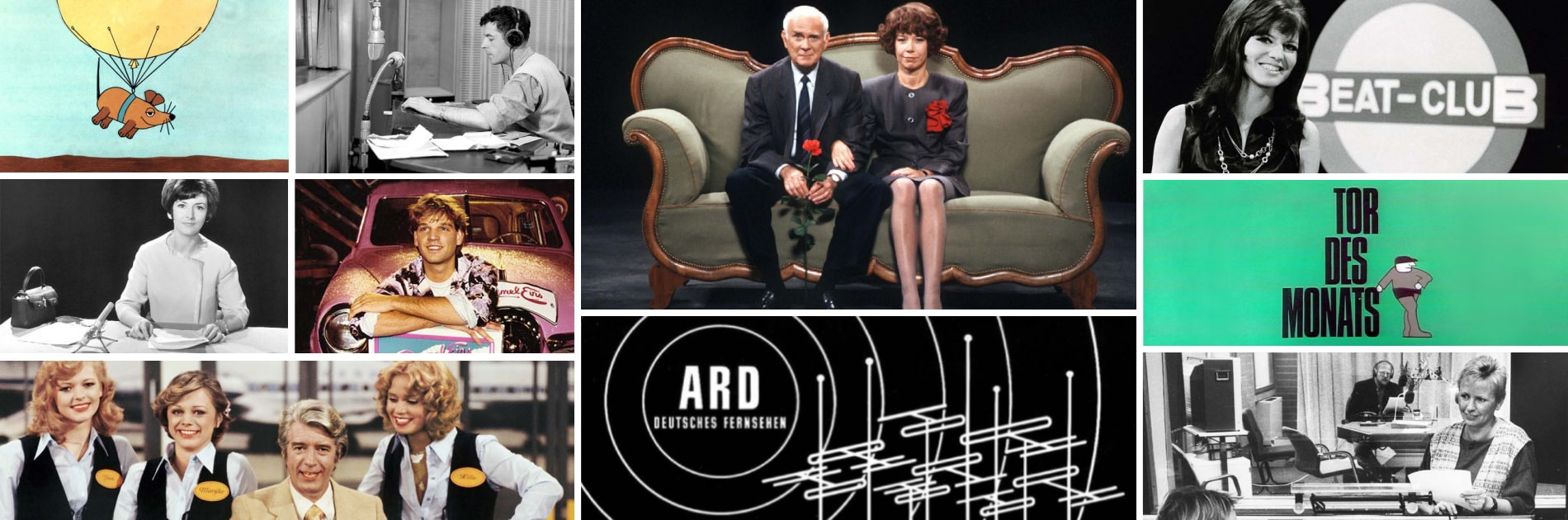 """""""70 Jahre ARD""""-Collage; rechts unten Hörfunk-Regie im Studio Bielefeld   Bildquelle: WDR; rechts unten WDR/Andreas Frücht"""